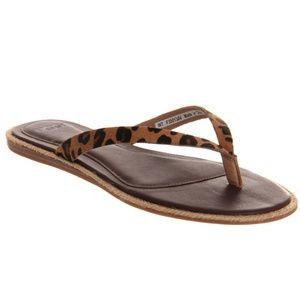 Ugg Allaria Leopard Calf Hair Flip Flop Sandals